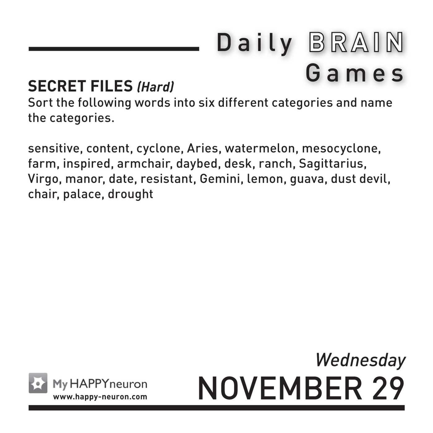 Daily Brain Games 2017 Day-to-Day Calendar: HAPPYneuron