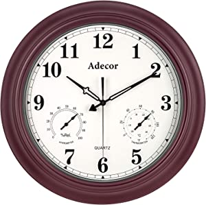 Adecor Outdoor Clocks with Thermometer and Hygrometer Combo, Waterproof Metal Wall Clock, Large Display Silent Non Ticking Battery Operated Clock for Garden/Patio/Pool/Lanai/Fence (18 Inch, Cherry)