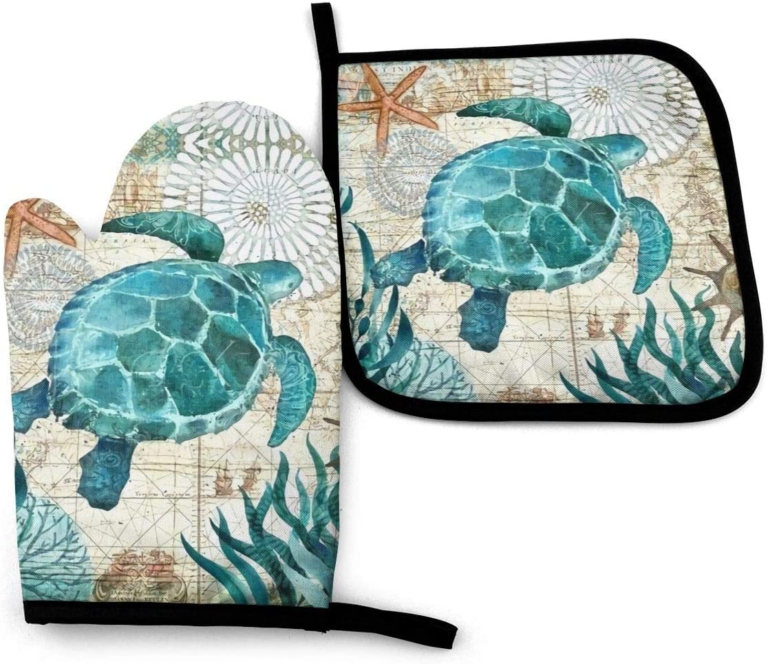FEAIYEA Marine Life Theme Sea Turtle Oven Mitts and Pot Holders Set Kitchen Gift Set, Non-Slip Textured Grip and Heat Resistant Perfect for Cooking Baking BBQ Grilling