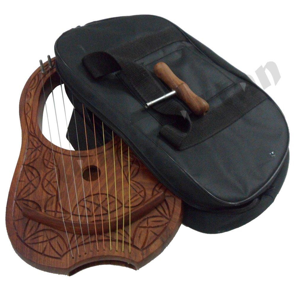 Lyra Harp String Engraved Rosewood Lyre Harp 10 Metal Strings Carrying Case Key