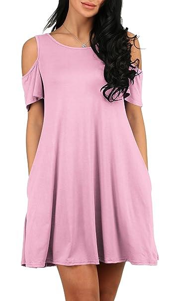 58316c53de6 Alaroo Ladies Off The Shoulder Short Sleeve Loose Summer Dress Pink S at  Amazon Women's Clothing store: