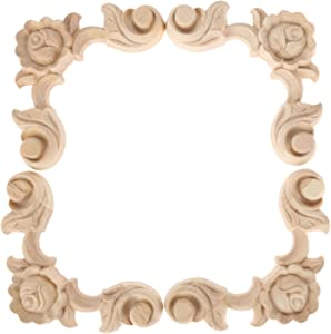 MUXSAM 4PCS Wood Carved Applique Onlay for Furniture Center Rose Floral Decal Unpainted Durable Home Corner Frame Decoration(10x10cm/3.94