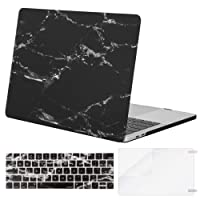 Mosiso MacBook Pro 15 Case 2018 2017 2016 Release A1990/A1707, Plastic Hard Case Shell with Keyboard Cover with Screen Protector for Newest MacBook Pro 15 Inch with Touch Bar, Black Marble