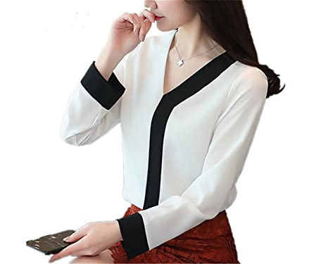 SDHEIJKY Office Chiffon Blouse Women Fashion V-Neck Long Sleeve Patchwork Shirt