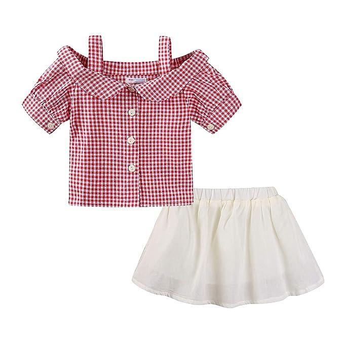 4f1697b95a83 Amazon.com  Mud Kingdom Little Girls Outfits Skirts Plaid Shirts ...
