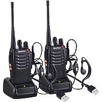 Nestling 2 PCS Talkie Walkie Rechargeable Baofeng 888s Longue portée 16CH Radio bidirectionnelle Set Talky Walky avec écouteurs pour la Survie sur Le Terrain Camping Randonnée Communication