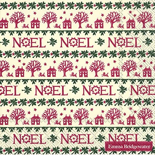 IHR Emma Bridgewater NOEL Christmas Cocktail or Tea Napkins paper 25 cm square 20 in pack