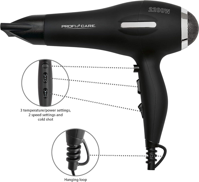 ProfiCare PC HT 3017 Sèche cheveu professionnel CA, 2 200 W, fonction ionisation, souffle froid, moteur CA professionnel, câble extra long (environ 2
