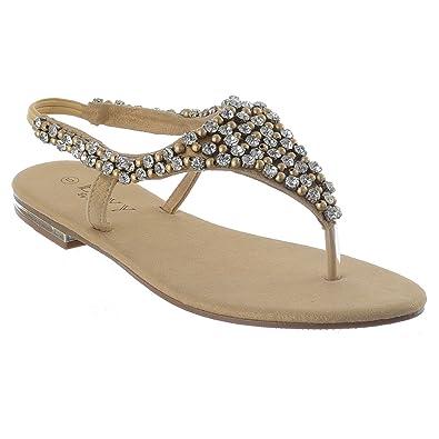 Ladies Womens Slip On Summer Toe Post Pearls Sandal Flip Flops all Sizes