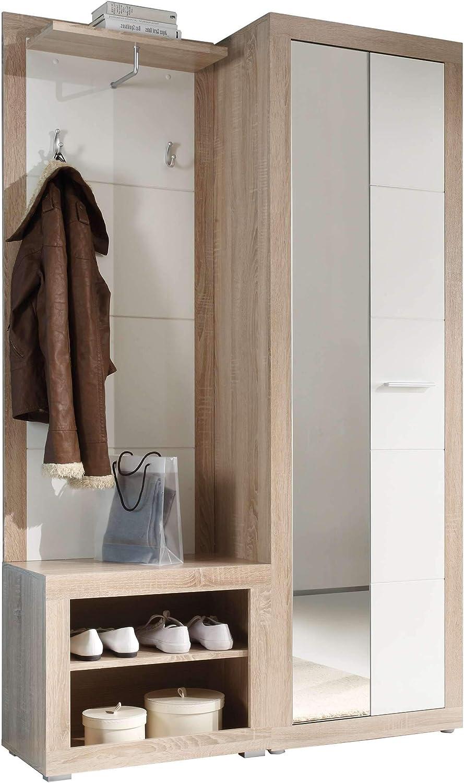 Dimensioni Lap 120x194x37 cm Guardaroba in Legno Laminato di Quercia Sonoma e Bianco Lucido Canbe AVANTI TRENDSTORE