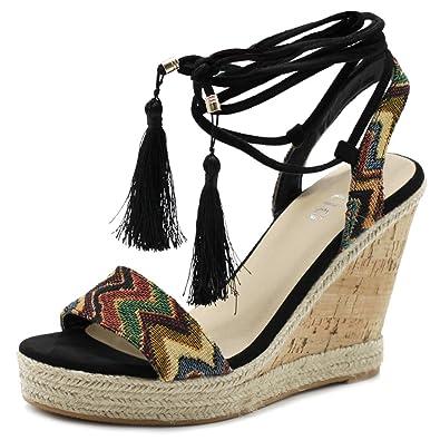 eb889953db4 Ollio Women s Shoe Ethnic Tribal Ankle Strap Platfrom Wedge High Heel  Sandals FULTON1 (6 B