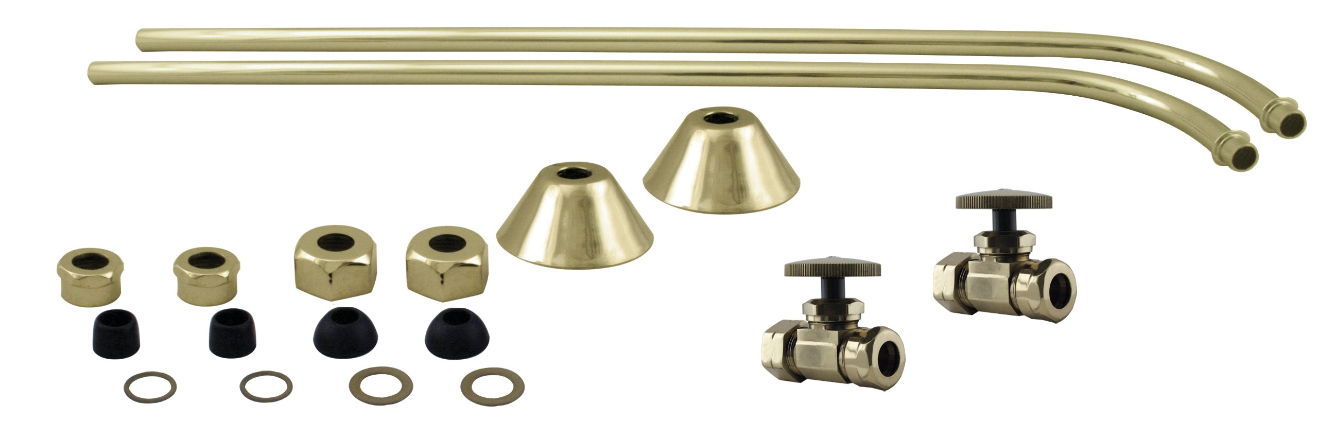 Westbrass 1/2'' Copper Stops & Single Offset Bath Supply with Round Handles, Polished Brass, D135-110-01