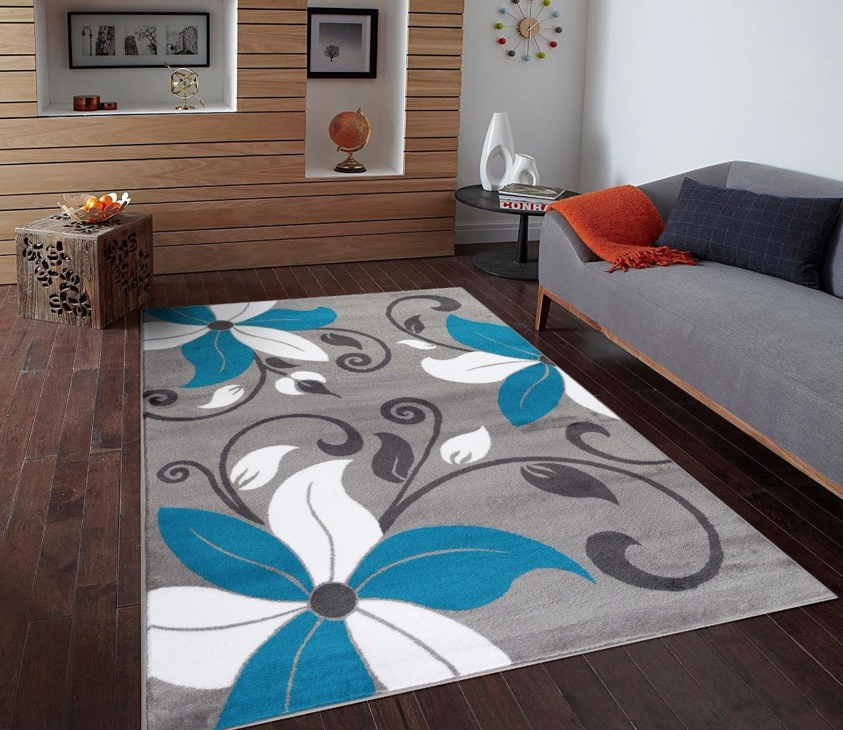 Amazon.com: T1014 Turquoise Gray White 5u00272 X 7u00272 Floral Oriental Area Rug  Carpet: Kitchen U0026 Dining