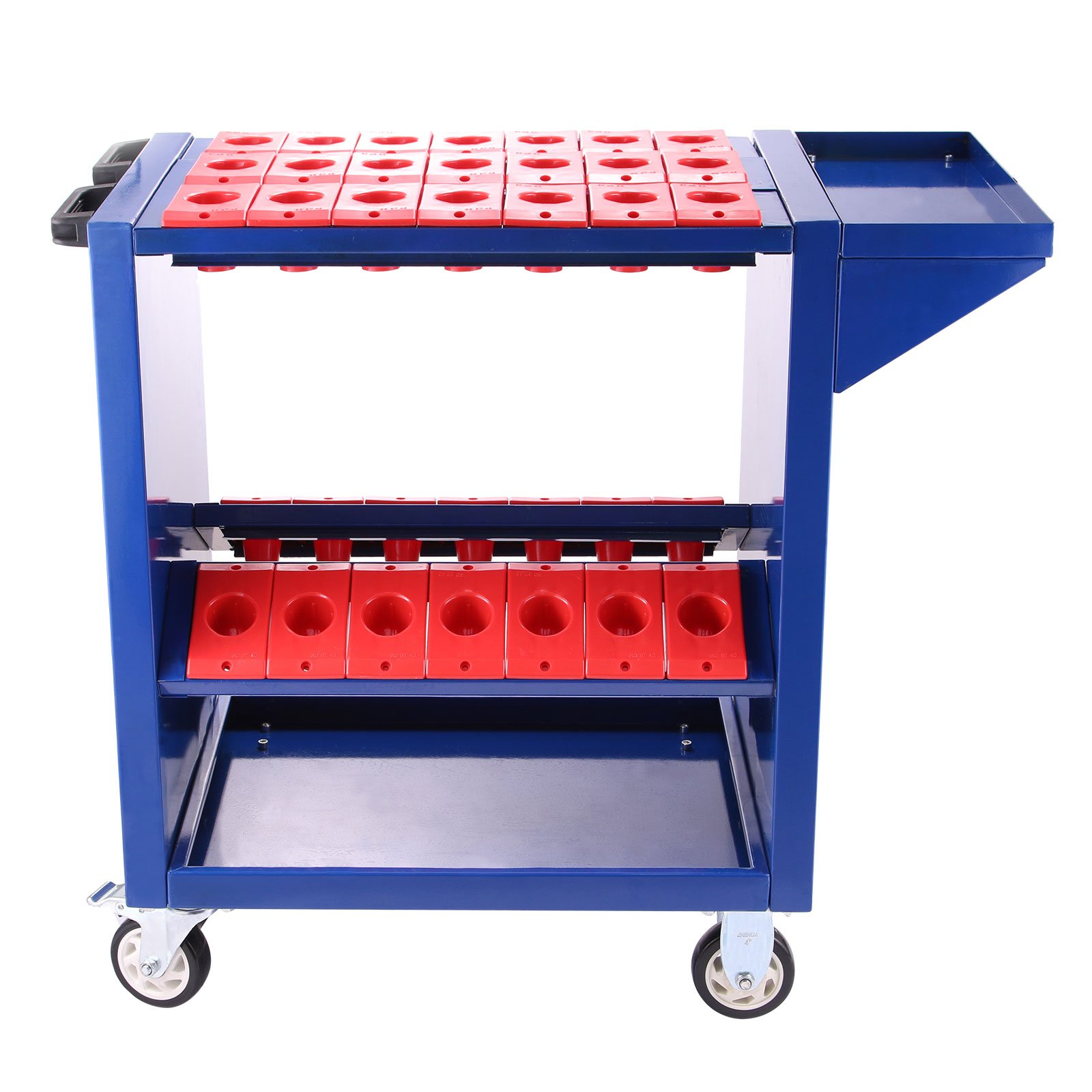 Happybuy Tool Cart Heavy Duty 35 capacity Tool Trolley CAT40 BT40 Service Cart Tools with 2 Storage Trays (BT40 blue)