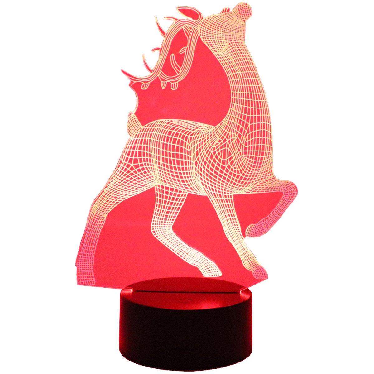 hguangs 3dランプ鹿形状夜ランプ3d Optical Illusionナイトライトデスクテーブルライト7色変更タッチコントロールギフトforクリスマス誕生日バレンタインの日キッズ子供女の子と男の子 B07B62FLKW 14906