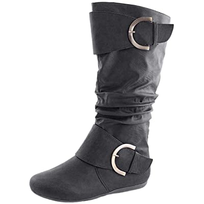 TOP Moda Women's Round Toe Slouchy Boot with Buckle | Knee-High