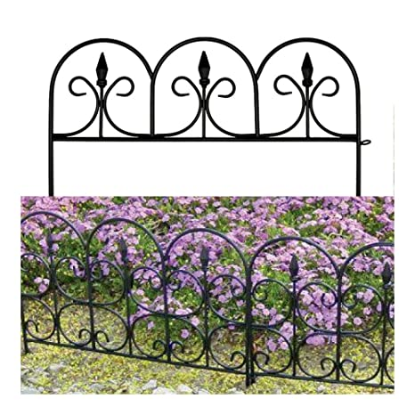 Beau RESIN VICTORIAN GARDEN FENCE 10u0027u0027 Outdoor Yard Border Edging Fencing Resin  Black