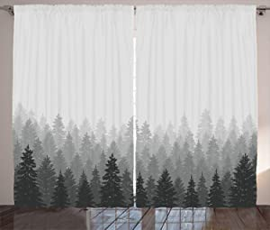 Ambesonne Forest Curtains, Wilderness Pattern with Many Trees Nature Panorama Monochrome Woods, Living Room Bedroom Window Drapes 2 Panel Set, 108