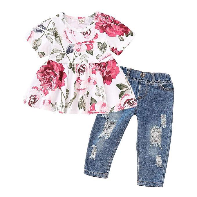 1fbfa34ba2ee Amazon.com  Baby Girl s Summer Cute Floral Print Ruffle T-Shirt Top ...