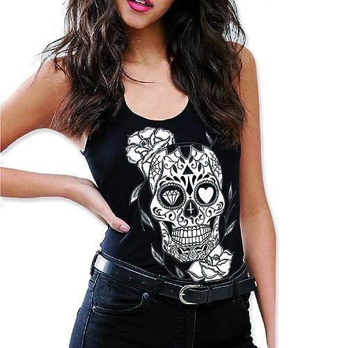 VIENTO Mexican Skull Camiseta de Tirantes para Mujer
