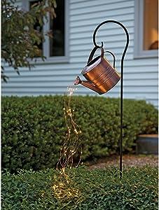 Star Shower Garden Art LED Light with Stake Firefly Bunch Lights Fairy Copper Wire Waterproof String Lights, Vine Solar Watering Can Lights Outdoor Garden Eid Mubarak Easter Metal Decor Lights (01)