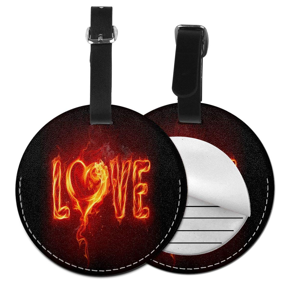 Flame Valentine's Day Round Leather Luggage Id Tag Suitcase Carry-on Travel Accessories 4 Pack by Rachel Dora