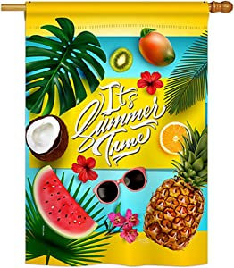 "Breeze Decor H106085 Fruity Time Summer Fun in The Sun Decorative Vertical House Flag, 28"" x 40"", Multicolor"
