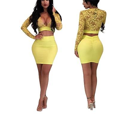 Frozac Sexy Sheer Encaje Crop top vendaje Vestido de las Mujeres de dos piezas Set hundiendo