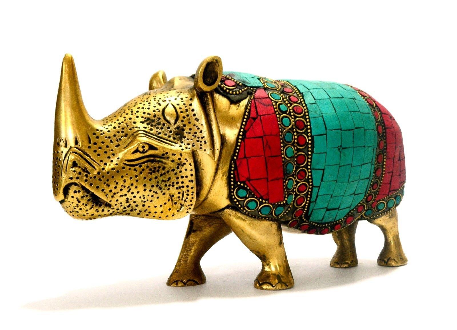 CraftVatika Wild Rhino African Safari Rhinoceros Brass Figurine- Metal Animal Statue Gemstone Artwork
