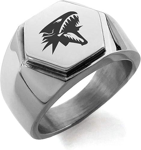 Yu-Gi-Oh Blue-Eyes White Dragon Stainless Steel Hexagon Crest Biker Signet Ring