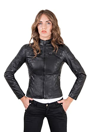 Giacca in pelle nera trapuntata donna Made in Italy: Amazon