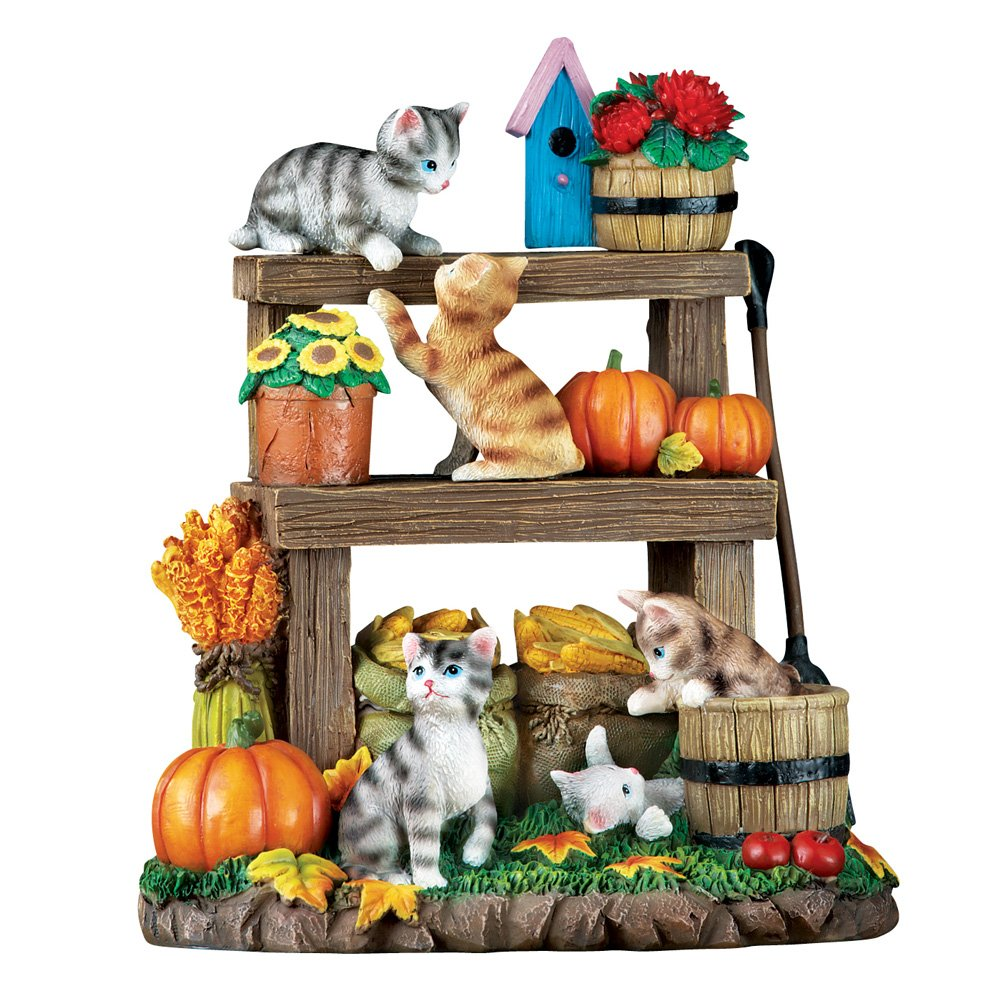 Collections Etc Fall Harvest Cats Hand-Painted Tabletop Figurine