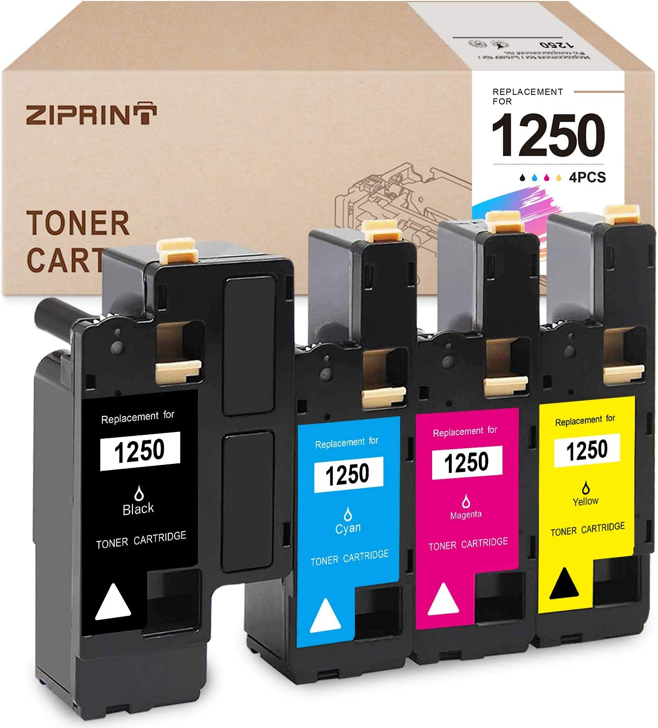 ZIPRINT Compatible Toner Cartridge Replacement for Dell 1250 810WH XMX5D for1250C 1350CNW 1355CN 1355CNW C1760NW C1765NF C1765NFW (Black, Cyan, Magenta, Yellow, 4-Pack)