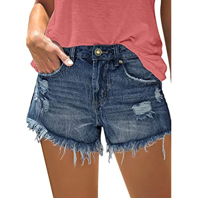 luvamia Women Casual Ripped Denim Shorts Mid Waisted Frayed Raw Hem Jean Shorts at Women's Clothing store