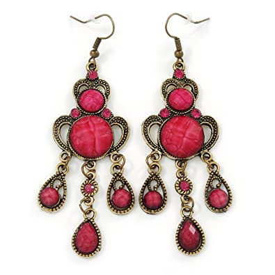 Viktorianischer Stil Fuchsia/Pink Acryl Perle Kronleuchter Ohrringe In  Antik Gold Tone U2013 80 Mm