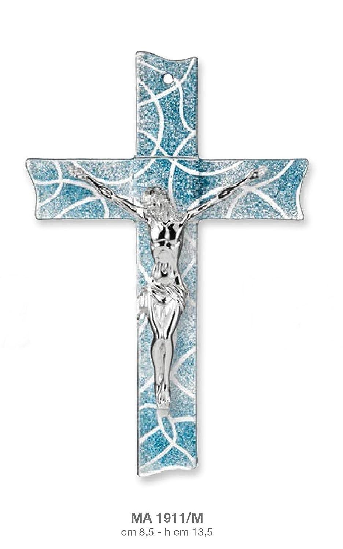 Kreuz – CHRISTUS Laminat Silber auf Kreuz Glas Glitter Hellblau CM8 ...