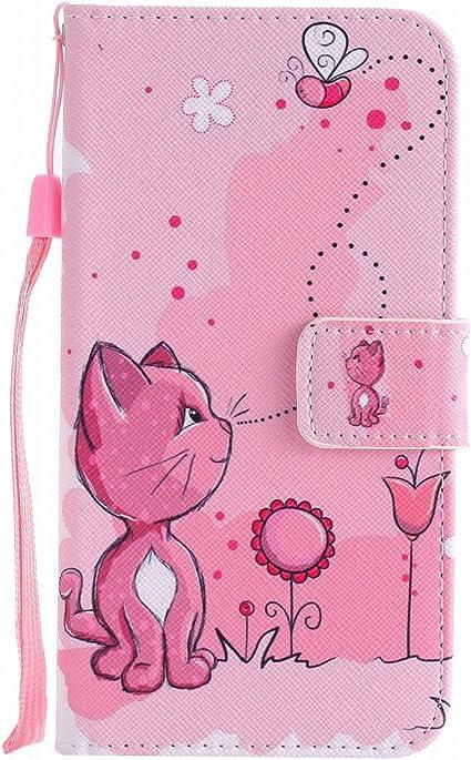 Ougger Cover per Huawei P10 Lite Custodia, Gatto Carino Printing Portafoglio PU Pelle Magnetico Morbido Silicone Flip Cover Bumper Protettivo Gomma ...