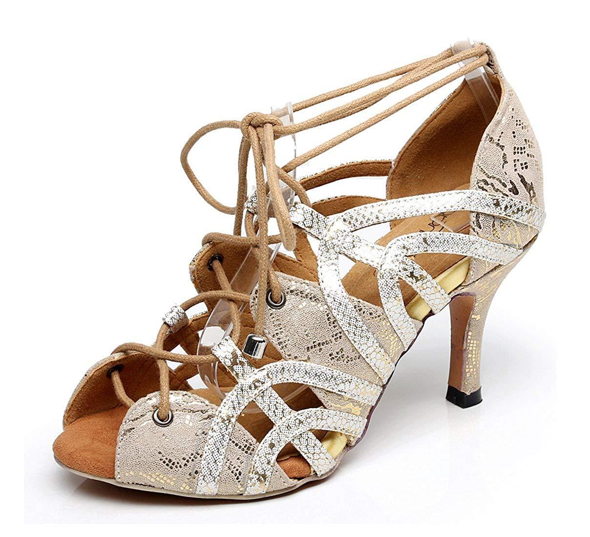 ZHRUI Damen Peep Soft Rubber Sole Peep Damen Toe Gold Synthetische Salsa Latin Tanzschuhe Partei Sandalen UK 3.5 (Farbe   - Größe   -) 2ff547