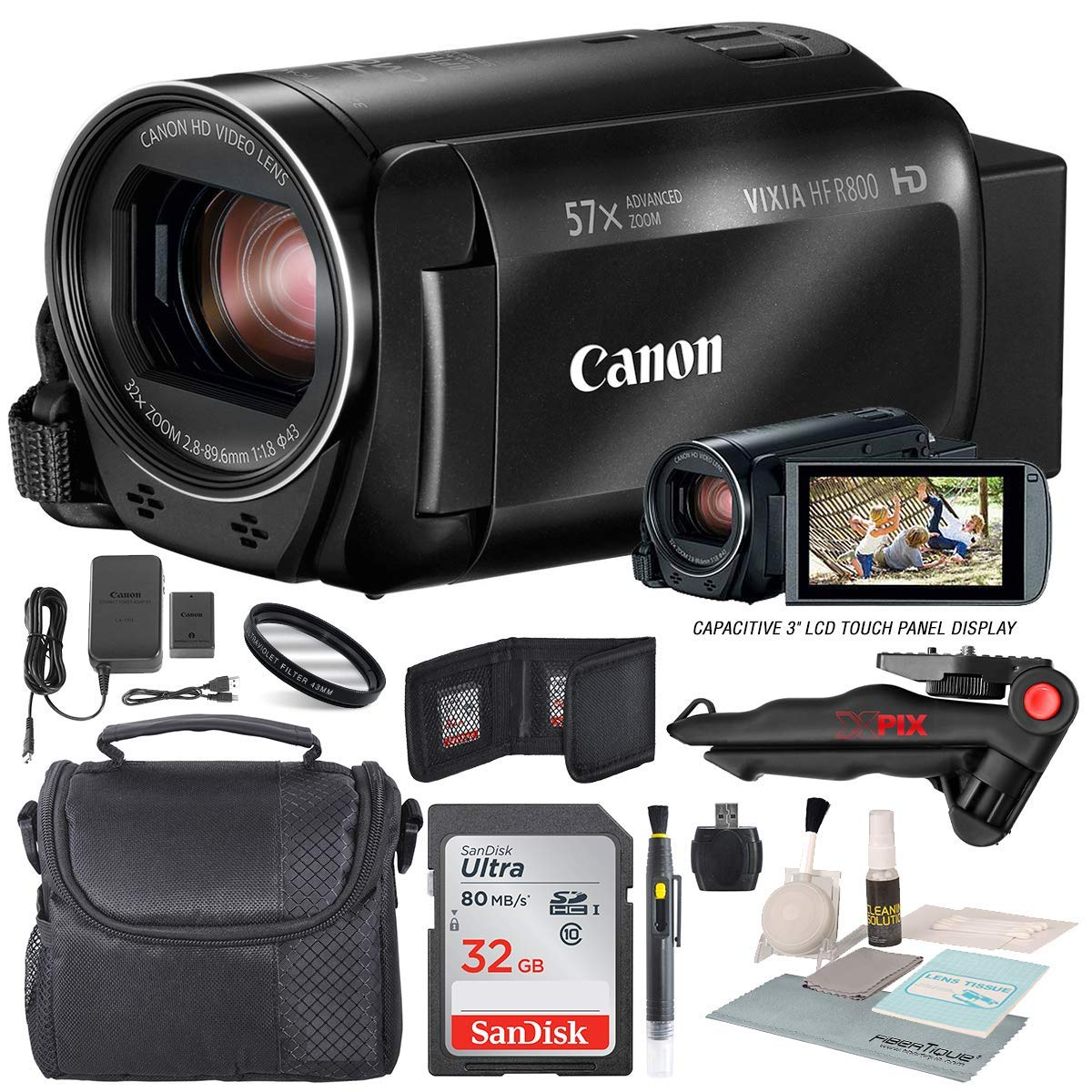Canon Vixia HF R800 HD Camcorder (Black) Bundle W/ 32GB SD Card, Camcorder Case, Cleaning Accessories and Fibertique Cleaning Cloth by Canon