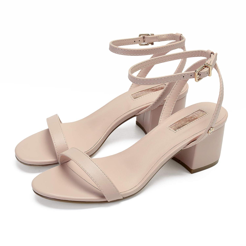 GUCHENG Chunk Heel Pumps Sandals Women's - Strappy Dress Sandals - Ladies Apricot Black White Wedding Party Sandals