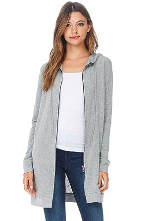 Amazon.com  A+D Womens Casual Zipper Long Hoodie Tunic Sweatshirt (Heather  Grey a0e60fb2208
