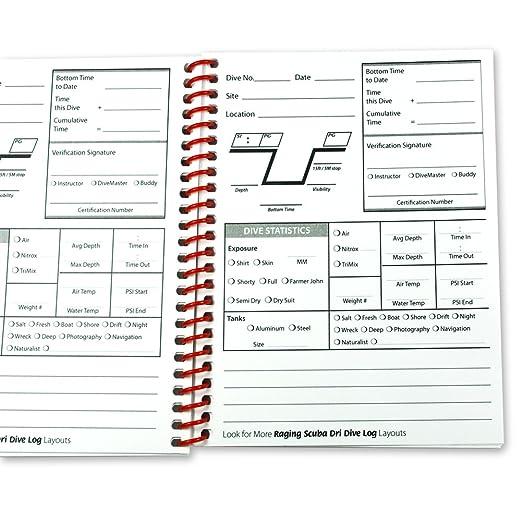 scuba log book pages
