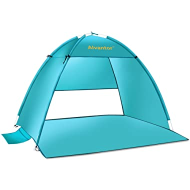 Alvantor Beach Tent Super Bluecoast Beach Umbrella Outdoor Sun Shelter Cabana Automatic Pop Up UPF 50+ Sun Shade Portable Camping Fishing Hiking Canopy Easy Setup Patent Pending 3 or 4 Person