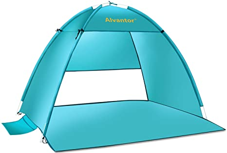 7df95633dd0a Alvantor Beach Tent Super Bluecoast Beach Umbrella Outdoor Sun Shelter  Cabana Automatic Pop Up UPF 50+ Sun Shade Portable Camping Fishing Hiking  Canopy Easy ...