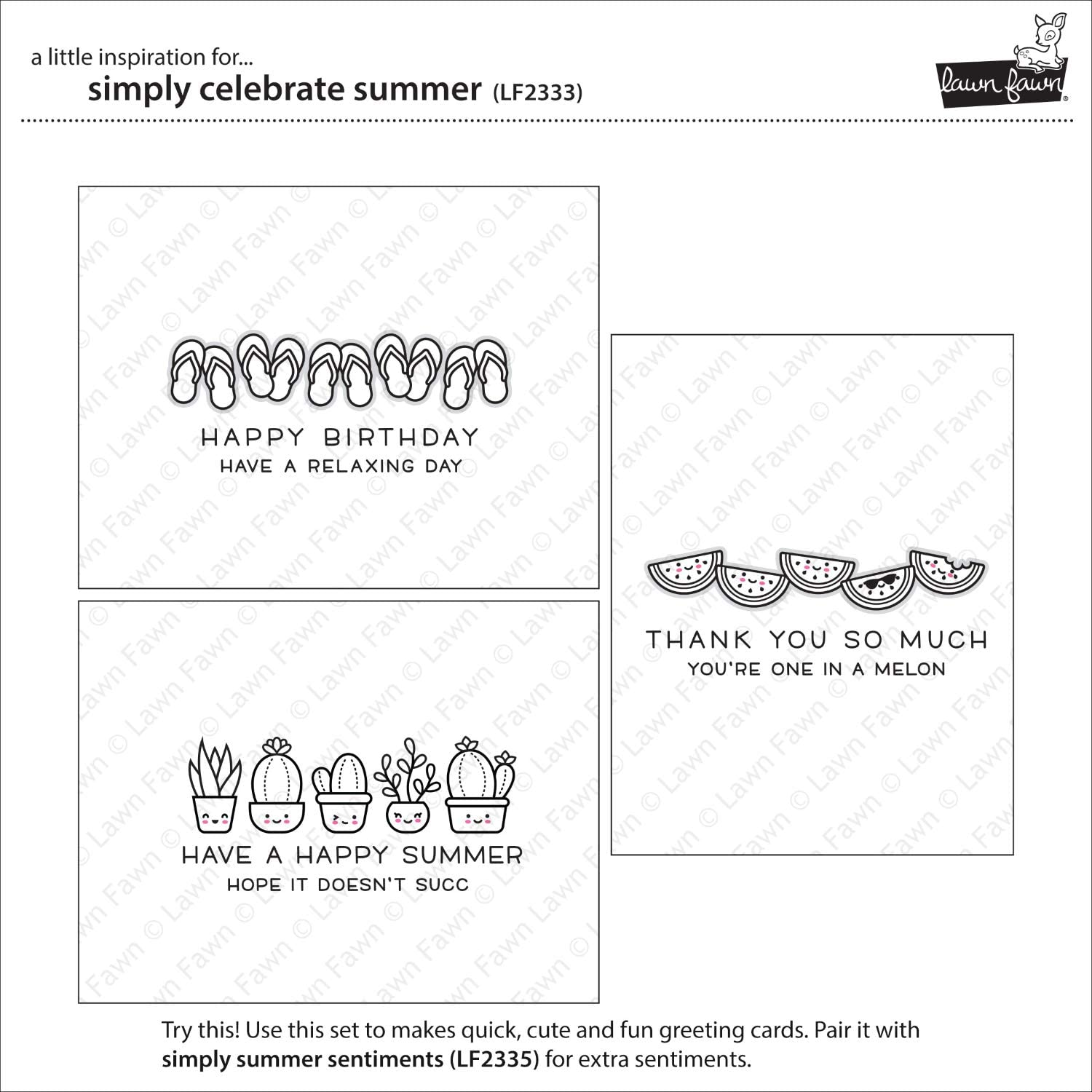Lawn Fawn LF2333 Simply Celebrate Summer 4X6 Clear Stamp Set