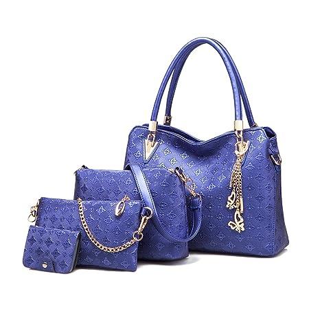 Miss LuLu Bolsos de mujer Bolsos de mano+Bolsos bandolera+Bolso de embrague 3 Piezas Conjunto fácil cambiar en la vida (6714 Azul oscuro): Amazon.es: ...