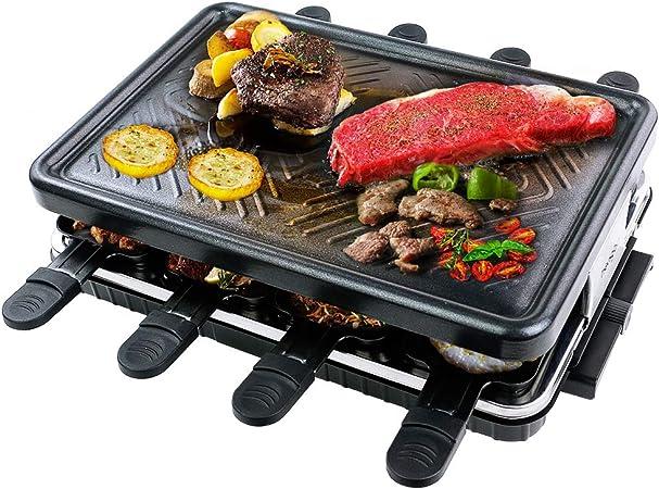 Raclette Grill per 8 Persone Piastra Griglia Elettrica per Cucinare Teppanyaki Grill da Tavolo Barbecue Elettrico con 8 Mini Padelle di Cottura e 4 Spatole in Legno Griglie Elettriche 1300W