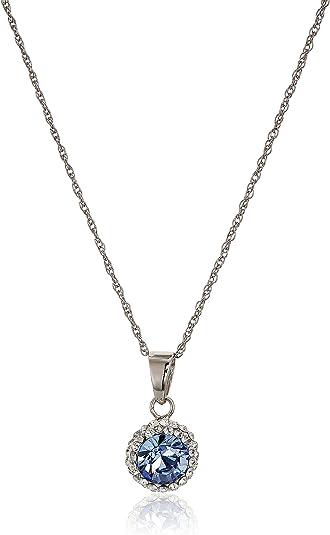 Sterling Silver Swarovski Crystal Halo Pendant Necklace, 18