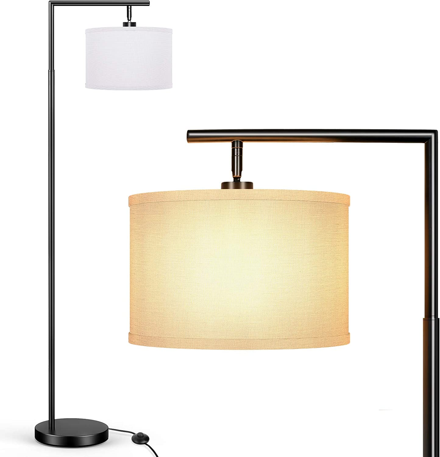 BesLowe Floor Lamp for Living Room, Montage Modern Standing Lamp with Hanging White Fabric Lampshade, Tall Pole Classic Reading Light Overhangs Lamp with Foot Switch for Bedroom Hotel Guest Room Black
