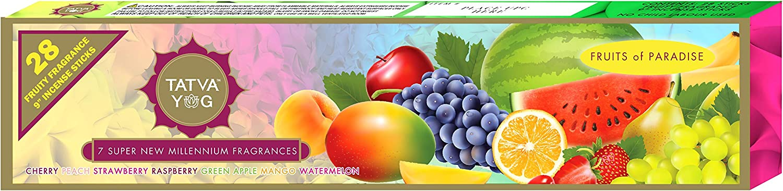 "TATVA YOG 28 Fruity Fragrance 9"" Incense Sticks Cherry|Peach|Strawberry|Raspberry|Green Apple|Mango|Watermelon"